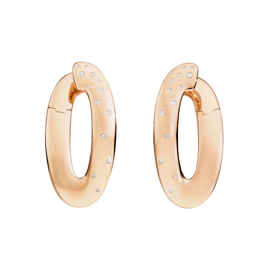 "18k Rose Gold & Diamond ""Olimpia"" Hoop Earrings"