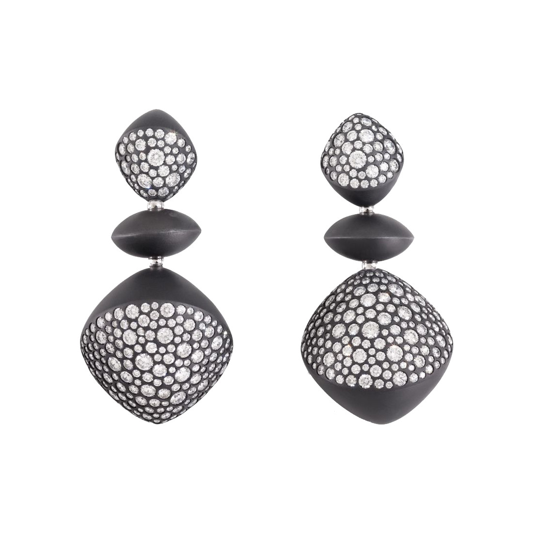 "Black Titanium & Diamond ""Trottola"" Earrings"