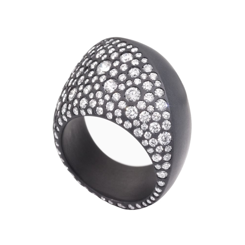 "Black Titanium & Diamond ""Trottola"" Ring"