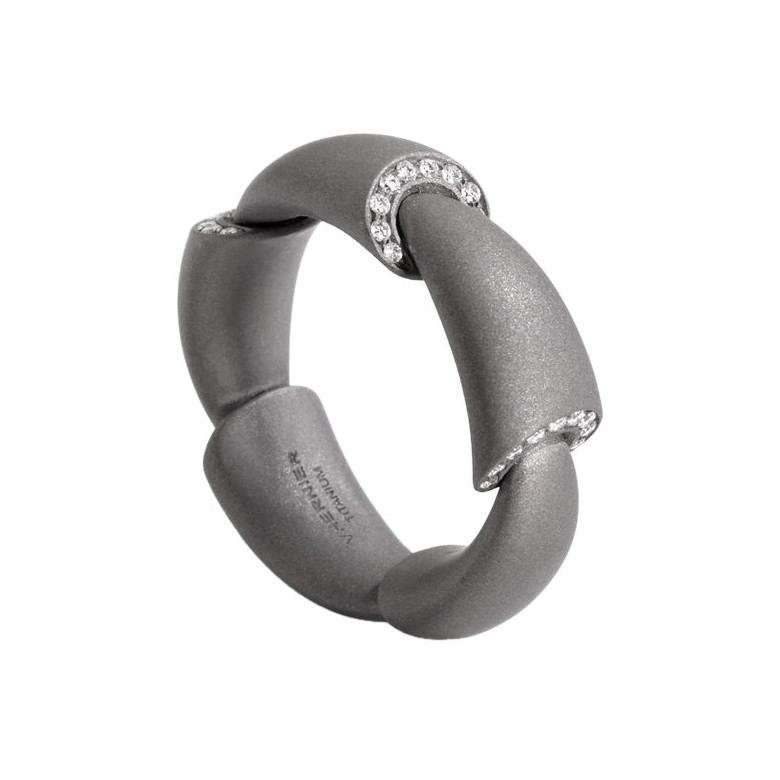 "Titanium & Diamond ""Calla Media"" Band Ring"