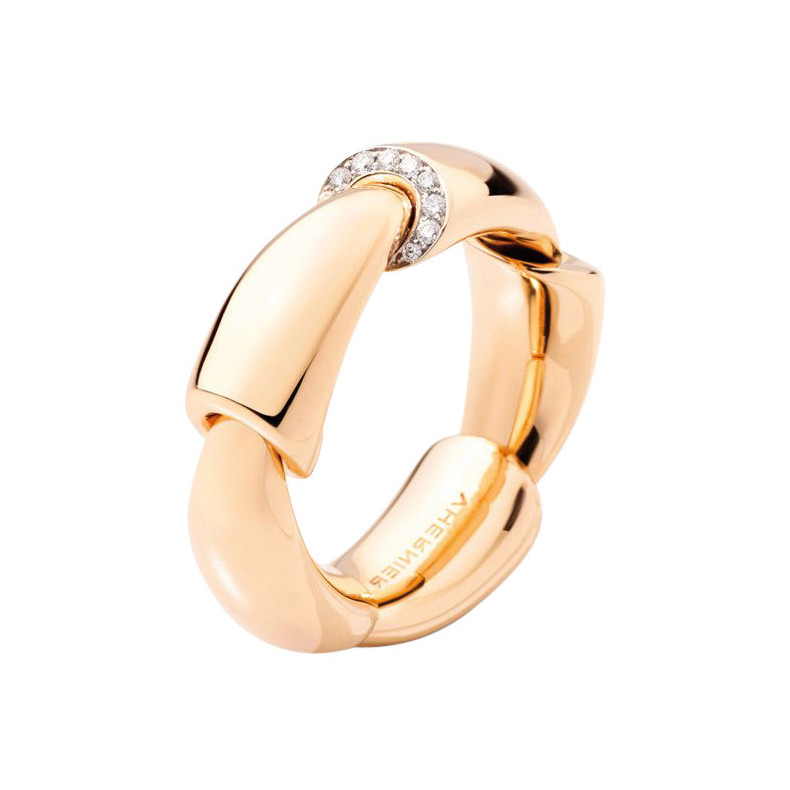 "18k Rose Gold & Diamond ""Calla Media"" Band Ring"