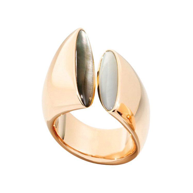 "White & Gray Mother-of-Pearl ""Eclisse"" Ring"