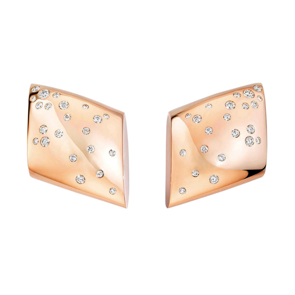 "18k Rose Gold & Diamond ""Fibula"" Earrings"