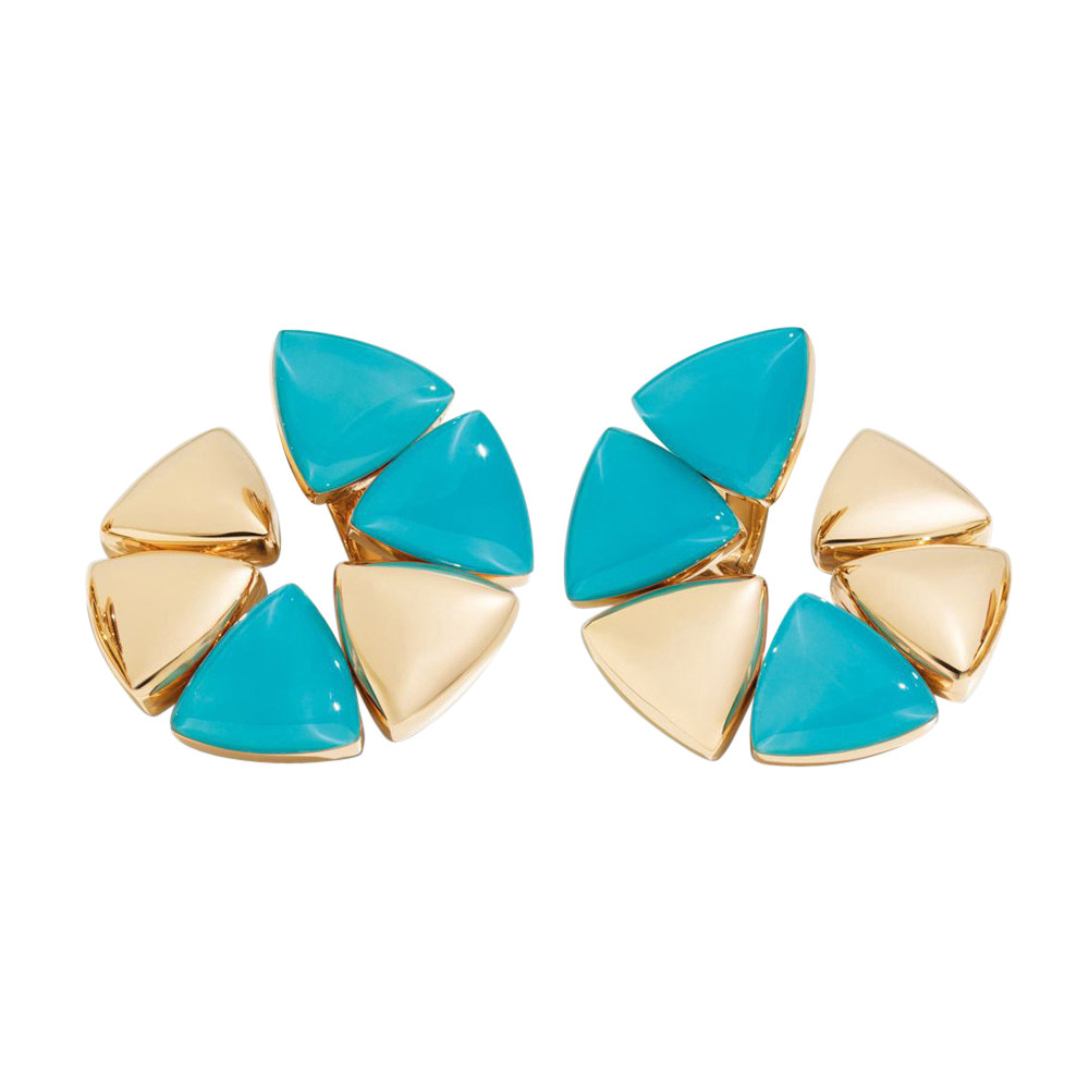 "18k Rose Gold & Turquoise ""Freccia"" Earrings"