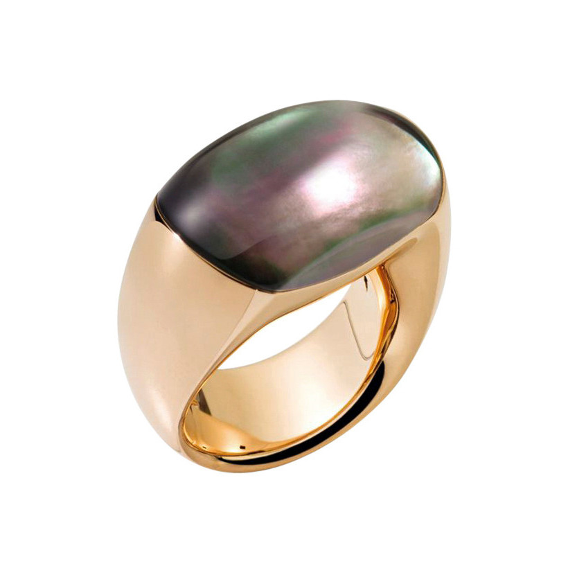 "Gray Mother-of-Pearl ""Bisquit"" Ring"