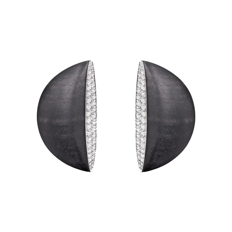 "Jet & Diamond ""Eclisse Medio"" Earrings"