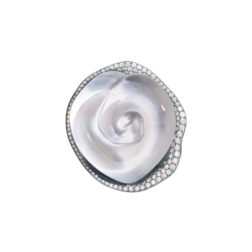 "Titanium, Mother-of-Pearl & Diamond ""Rosa"" Earring"