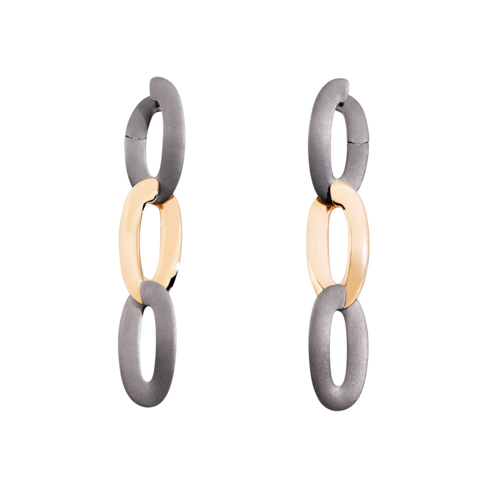 "18k Rose Gold & Titanium ""Olimpia"" Drop Earrings"