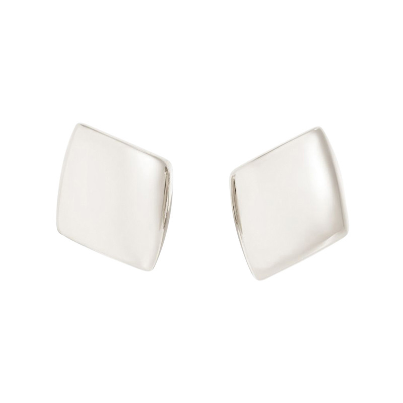 "Small 18k White Gold ""Plateau"" Clip Earrings"