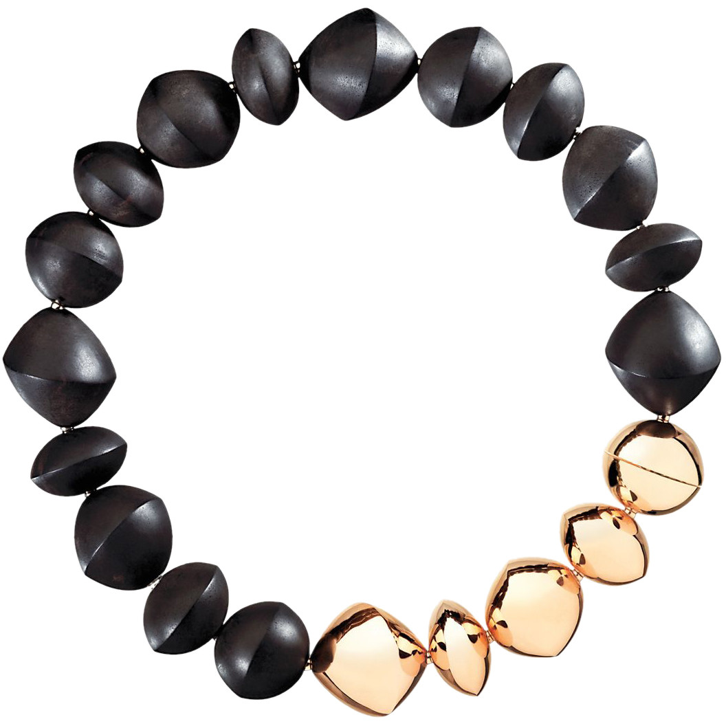 "Ebony & 18k Rose Gold Bead ""Trottola"" Necklace"