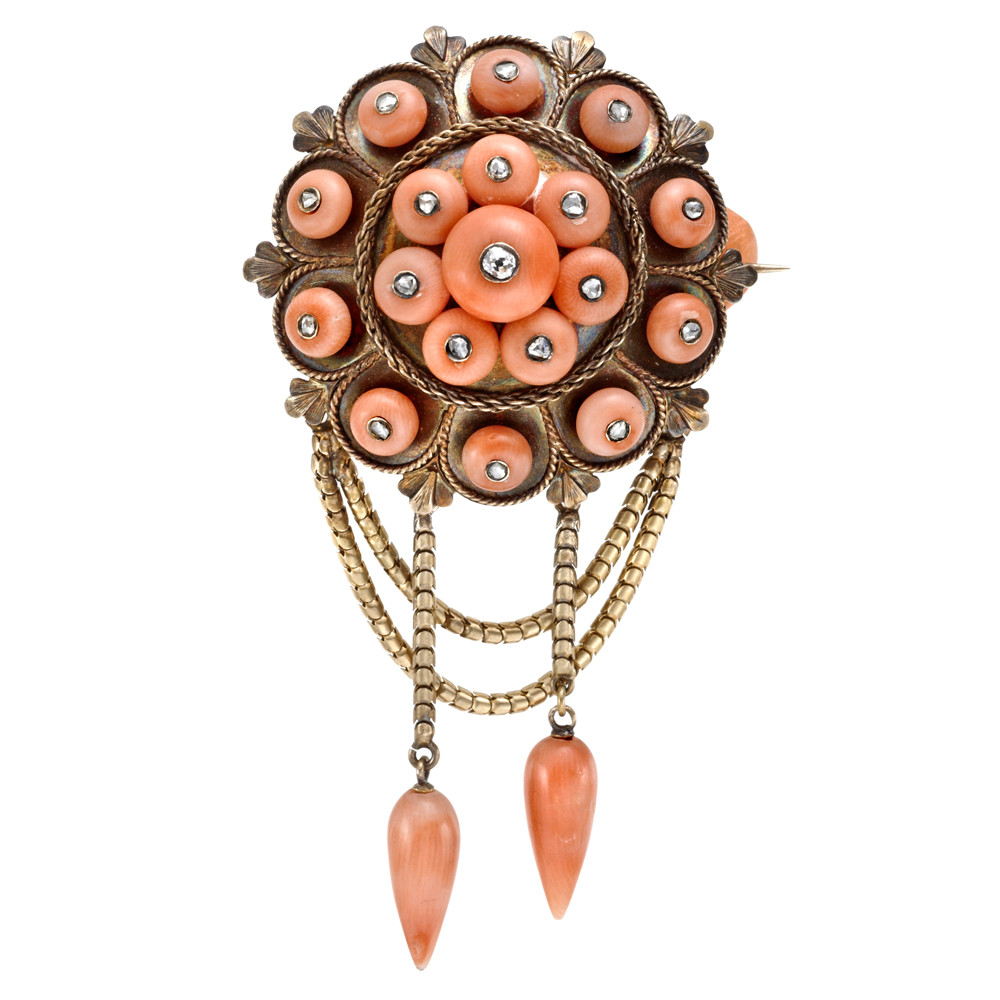 Estate victorian coral pendant brooch with diamond betteridge victorian coral pendant brooch with diamond aloadofball Images