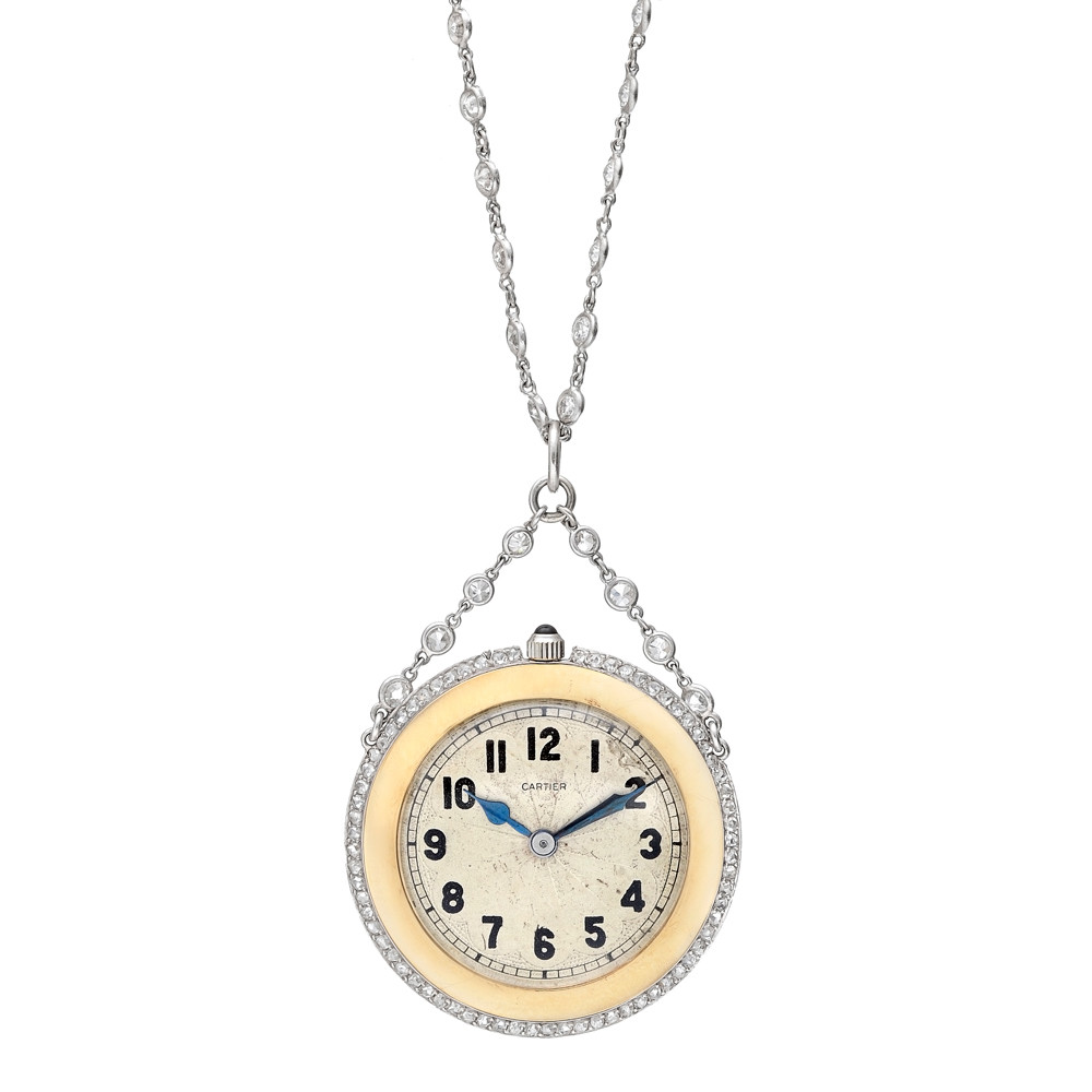 Pre Owned Cartier Vintage Platinum Amp Gold Pendant Watch On