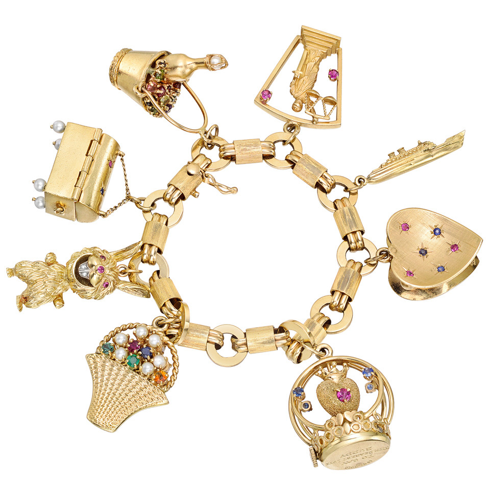 Gold Charm Bracelets: Estate Vintage 14k Gold & Gem-Set Charm Bracelet