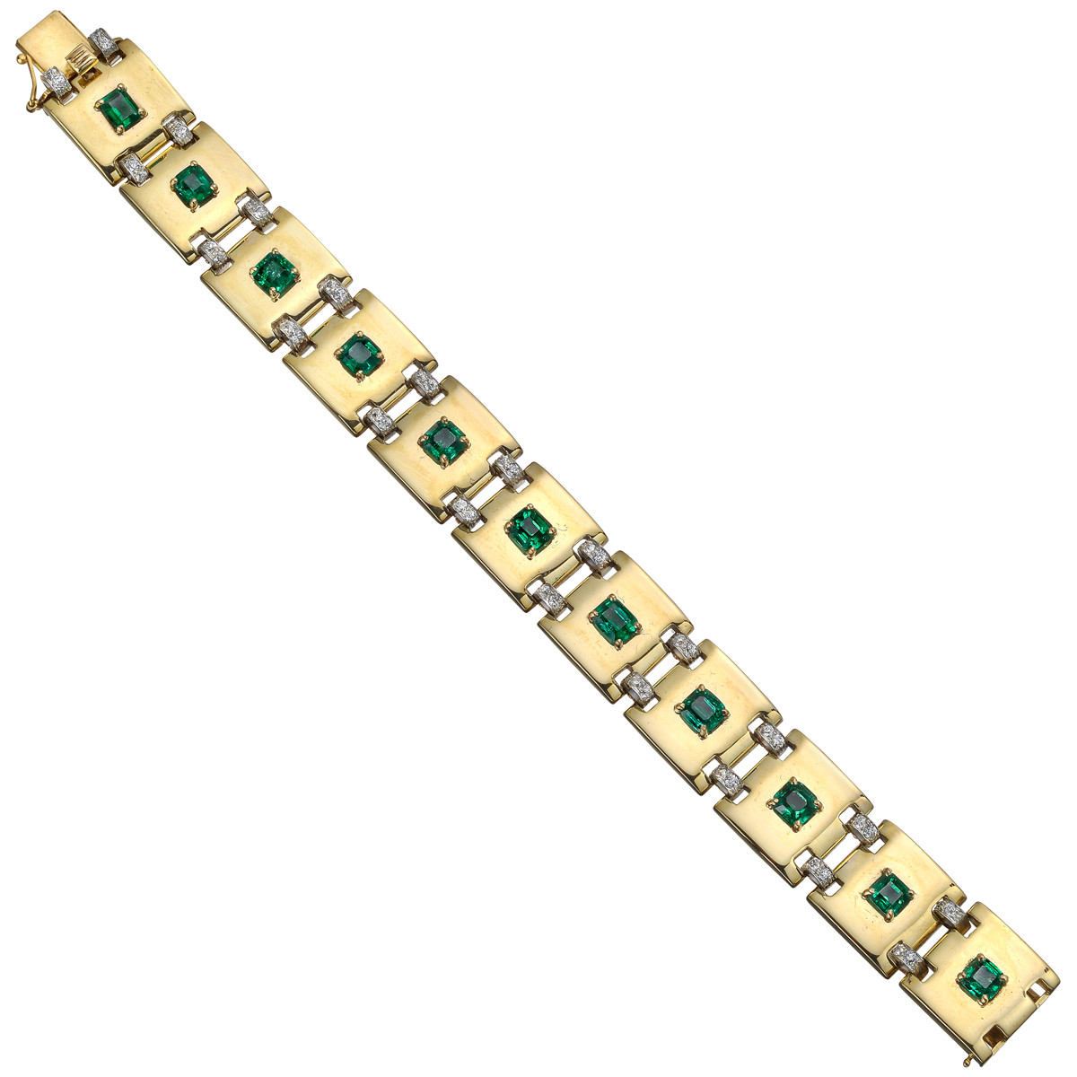 Yellow Gold, Emerald & Diamond Link Bracelet