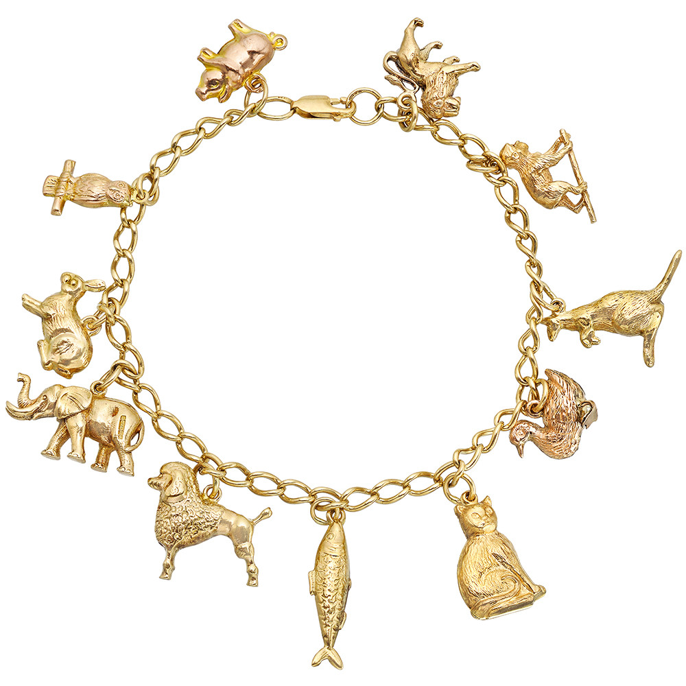 9k Yellow Gold Charm Bracelet Made In England Suspending Eleven Animal Charms Including A Lion Monkey Kangaroo Duck Cat Fish Poodle Elephant