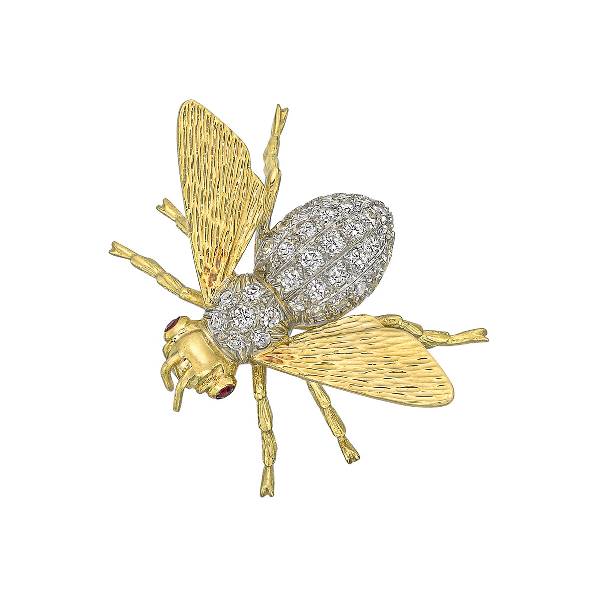18k Gold & Pavé Diamond Bee Pin