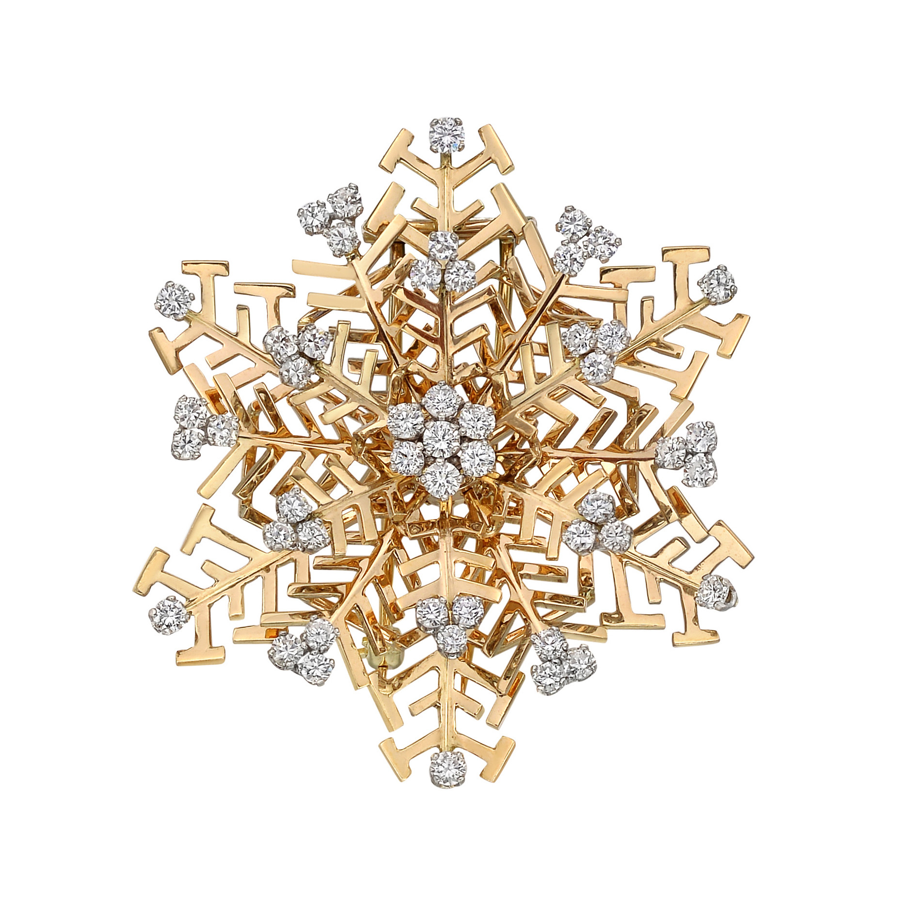 18k Yellow Gold & Diamond Snowflake Pin