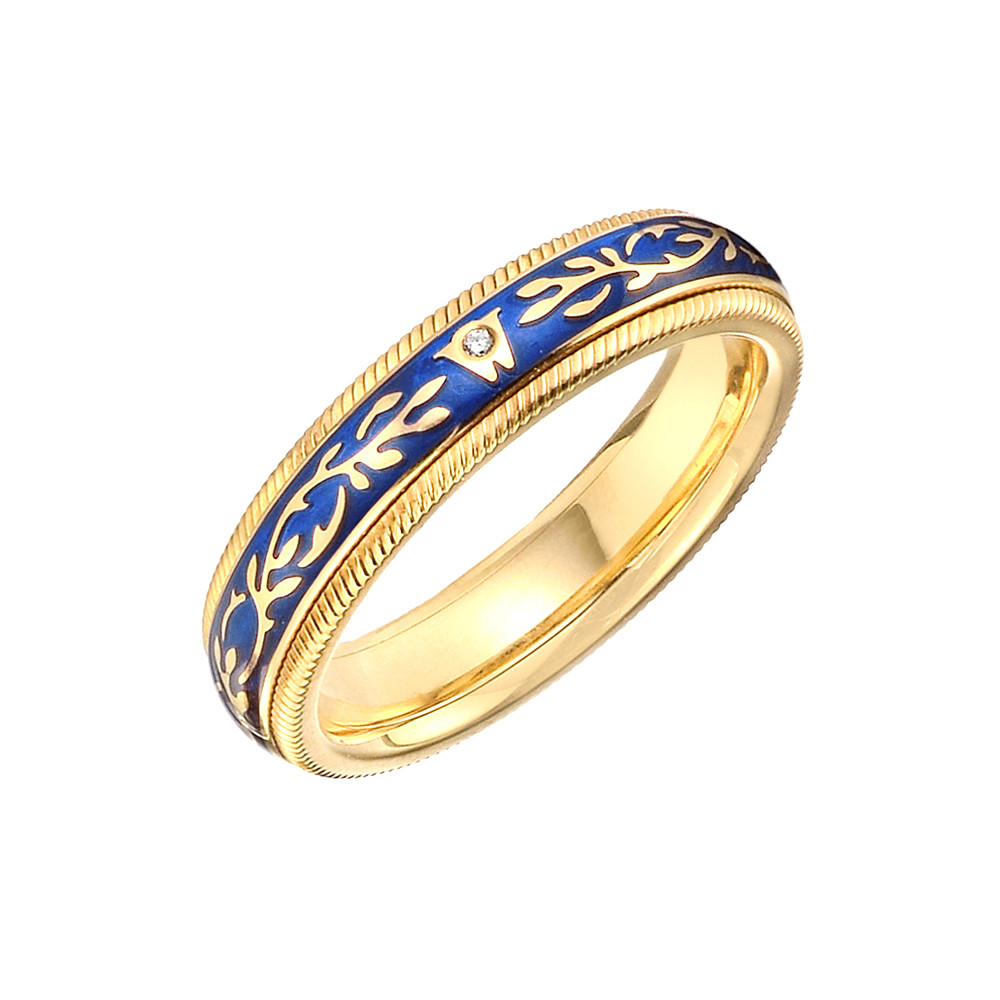 "18k Gold & Royal Blue Enamel ""Fantasy"" Ring"