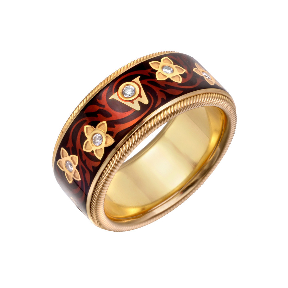 "Diamond & Enamel ""Miracle Flower"" Ring"