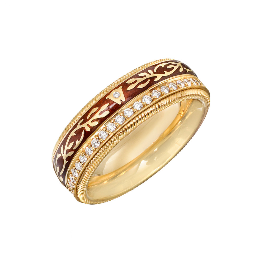 "Diamond & Enamel ""Mocha"" Ring"