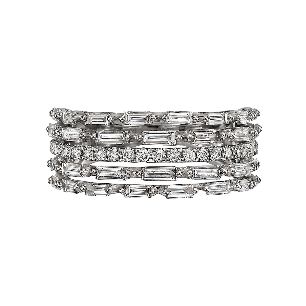 Baguette & Round Diamond 5-Row Ring