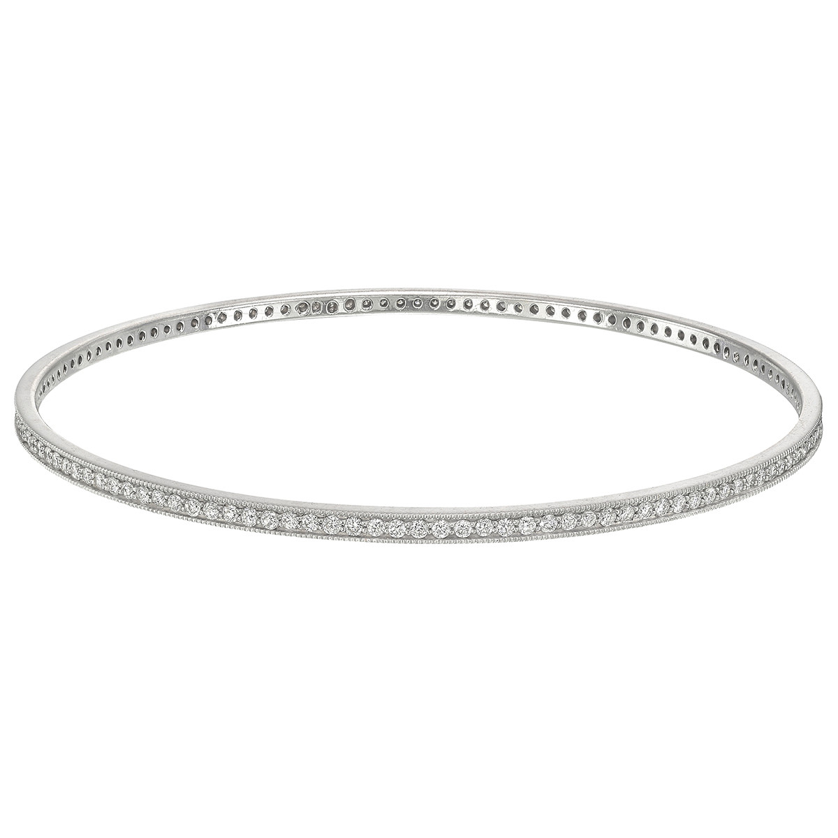 18k White Gold & Diamond Bangle (~2 ct tw)