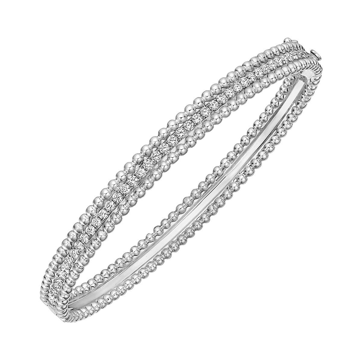 18k White Gold & Diamond Bead Border Bangle