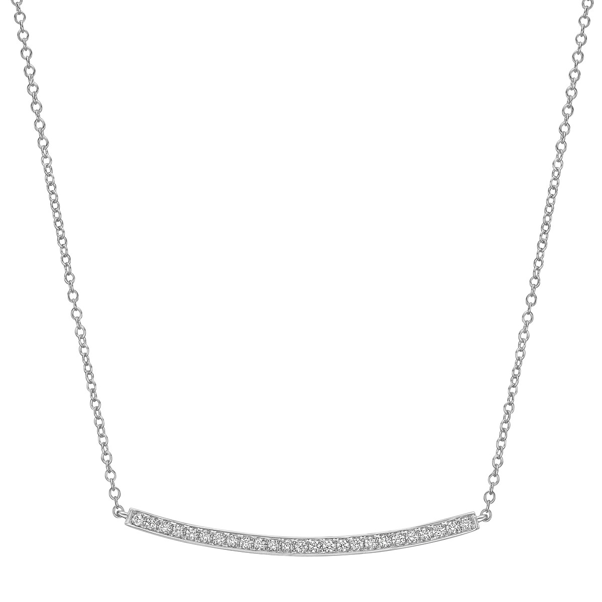 18k White Gold & Diamond Curving Bar Pendant