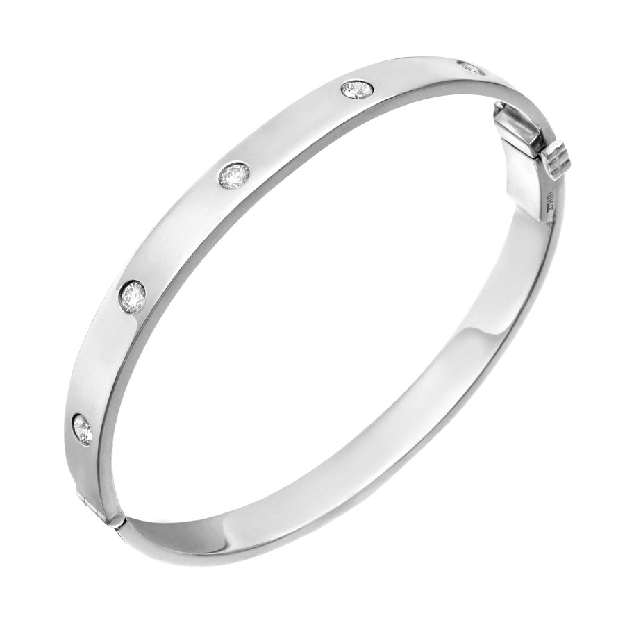 18k White Gold & Five Diamond Hinged Bangle