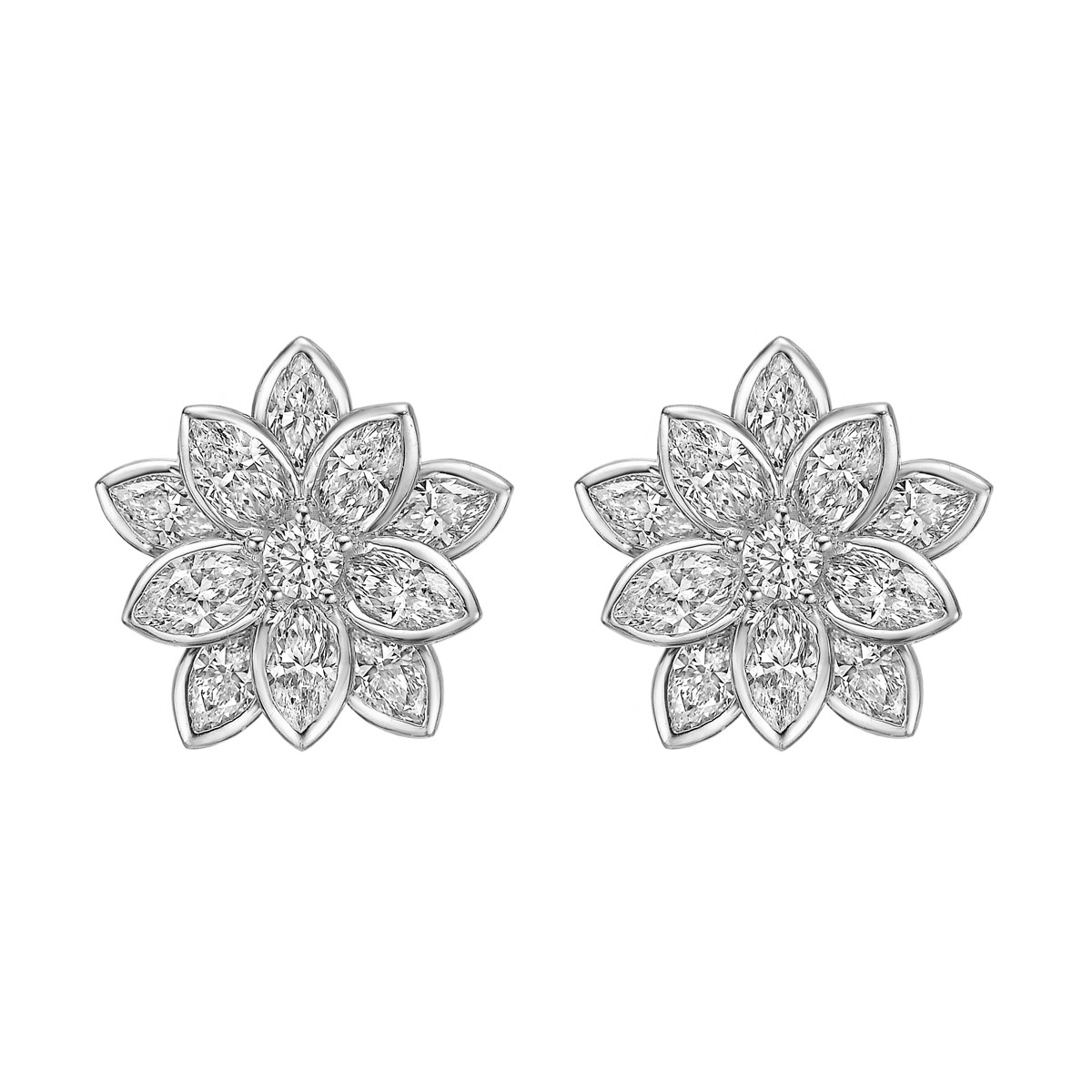 18k White Gold & Diamond Lotus Flower Earrings