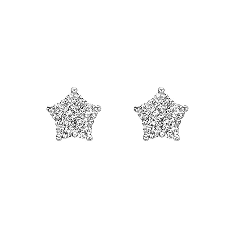 Mini 18k White Gold & Pavé Diamond Star Earstuds