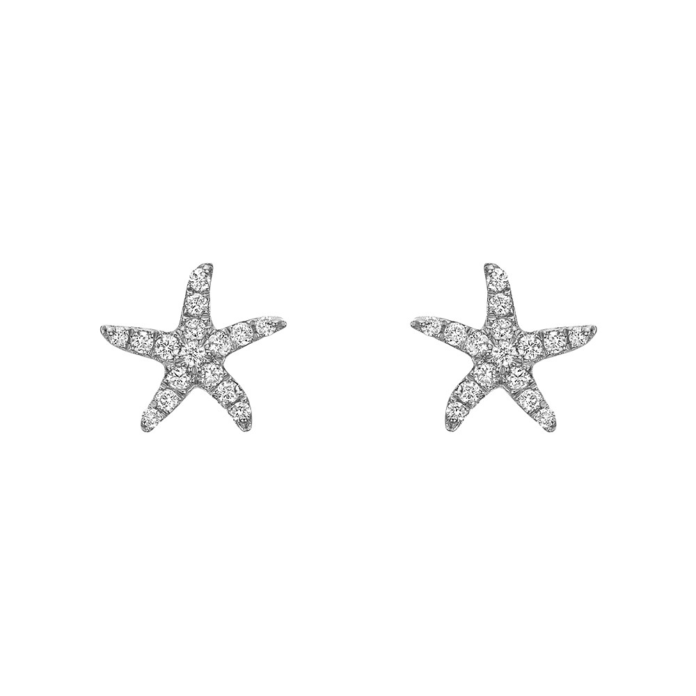 Small 18k White Gold & Diamond Starfish Earstuds