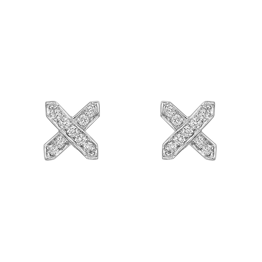 18k White Gold & Diamond 'X' Earstuds