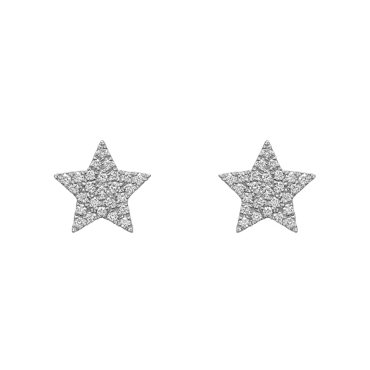 18k White Gold & Pavé Diamond Star Earstuds