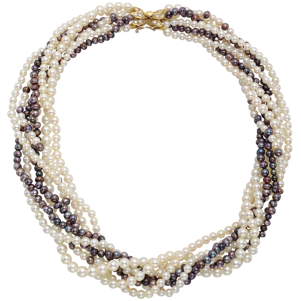 7-Strand White & Gray Seed Pearl Necklace