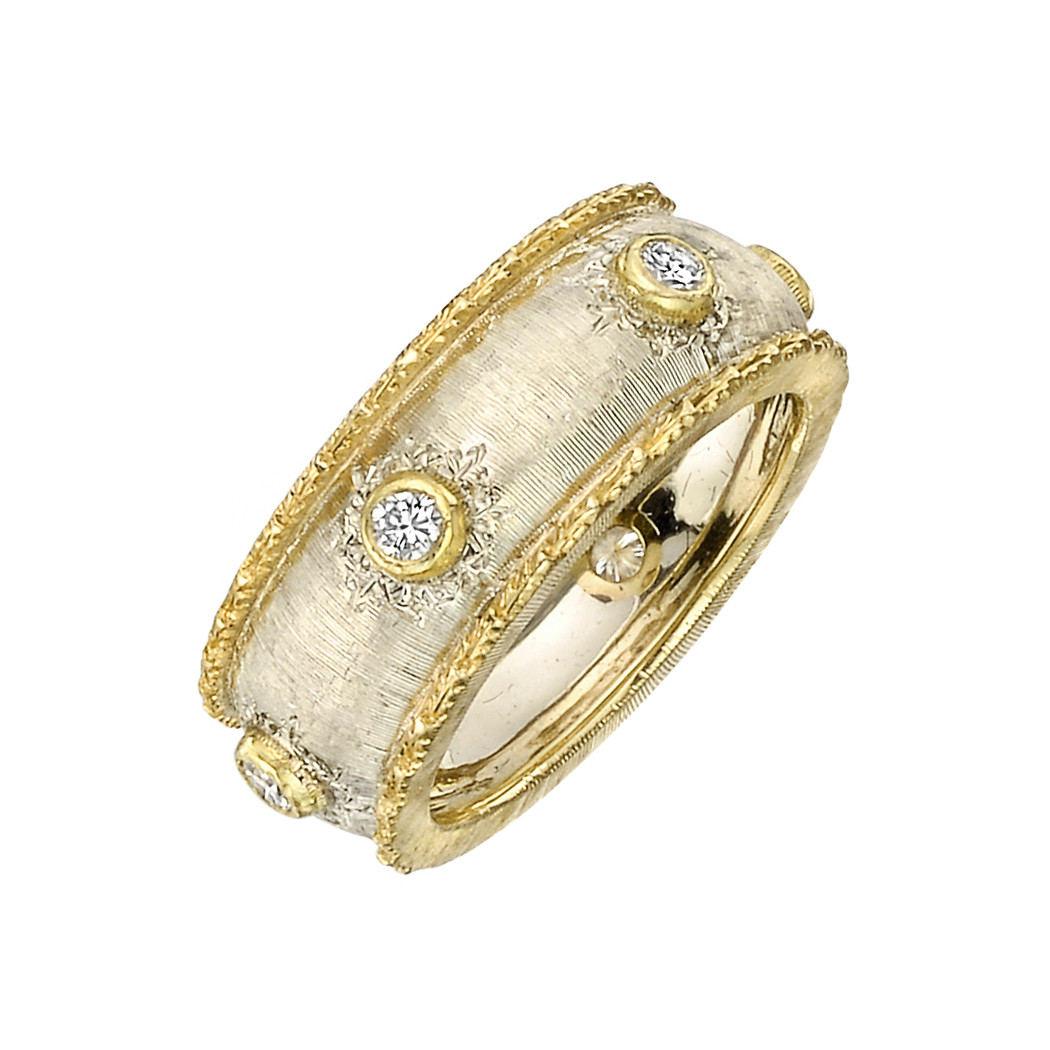 18k White & Yellow Gold Diamond Band