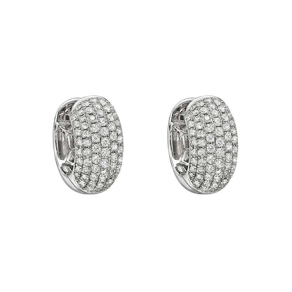 7-Row Pavé Diamond Huggie Earrings (~1 ct tw)