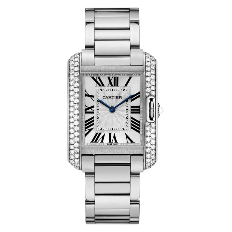 Tank Anglaise Medium White Gold & Diamond (WT100028)