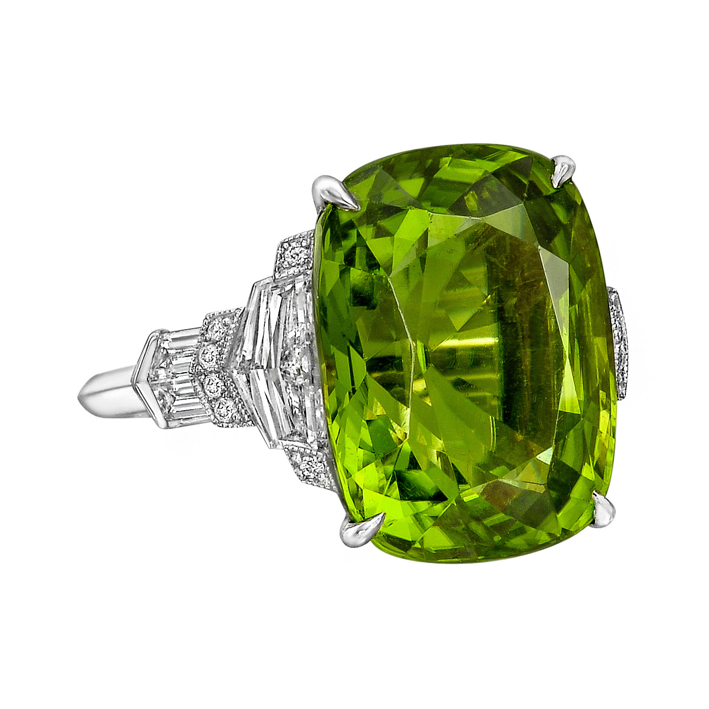 13.53ct Peridot & Diamond Cocktail Ring