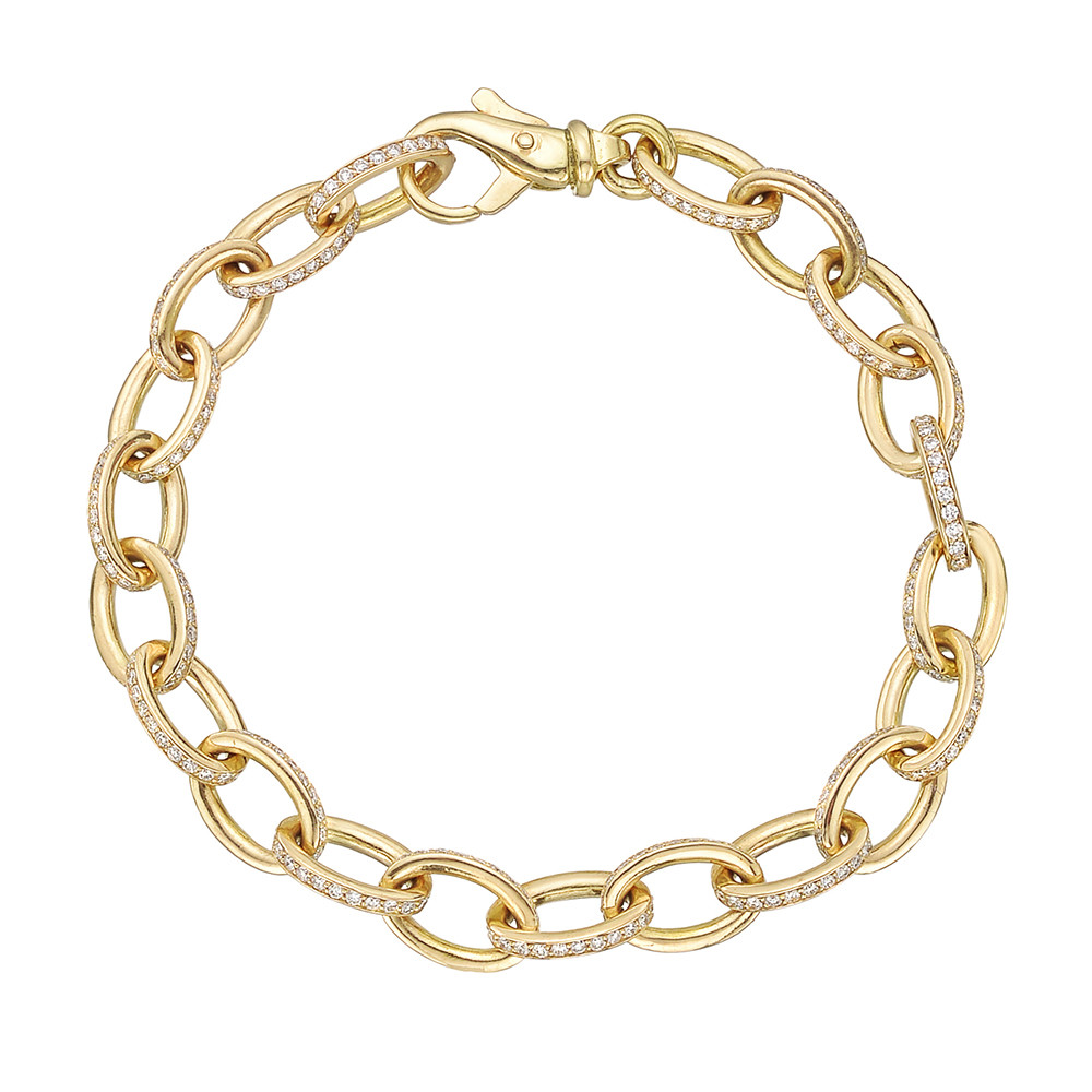 18k Yellow Gold & Diamond Oval Link Bracelet