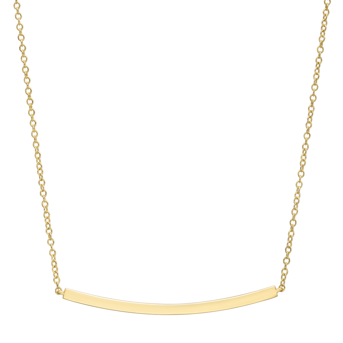 18k Yellow Gold Curving Bar Pendant