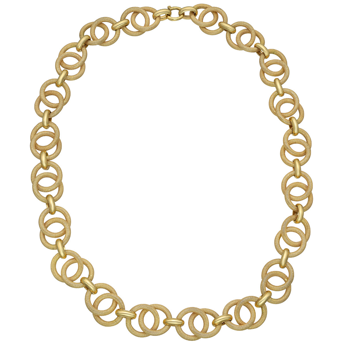 18k Yellow Gold Circle Link Long Necklace