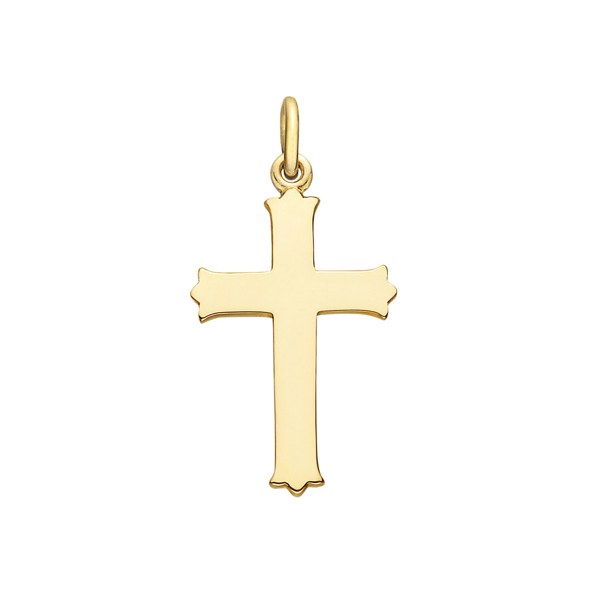 Medium 14k Yellow Gold Scalloped Cross Pendant