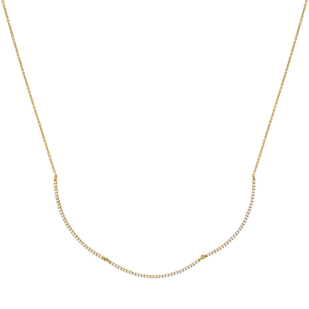 18k Yellow Gold & Diamond 3-Bar Necklace