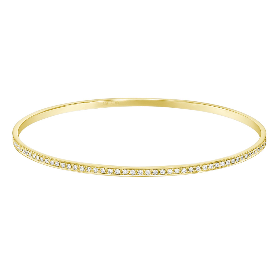 Thin 18k Yellow Gold & Diamond Bangle (~0.8 ct tw)