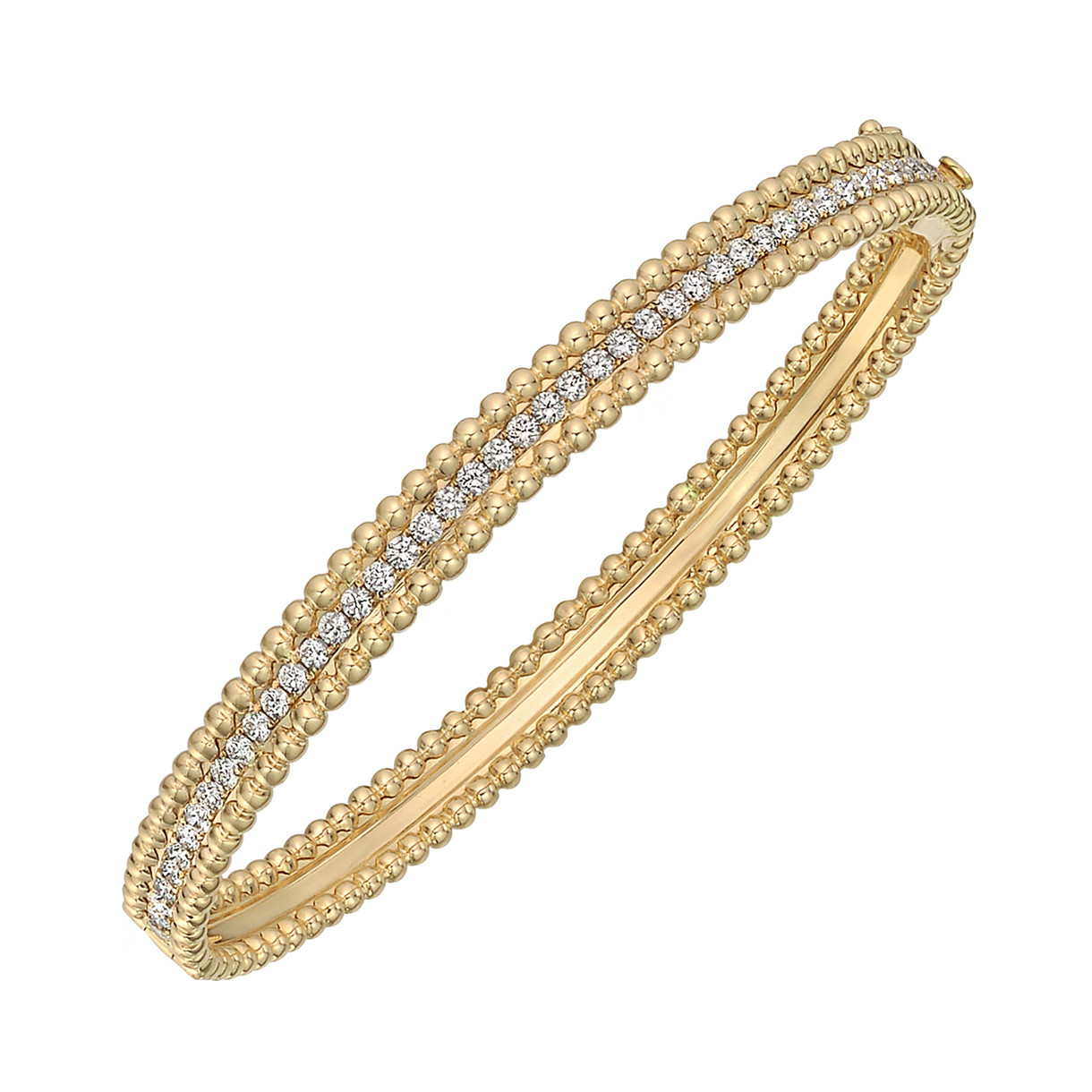 18k Yellow Gold & Diamond Bead Border Bangle