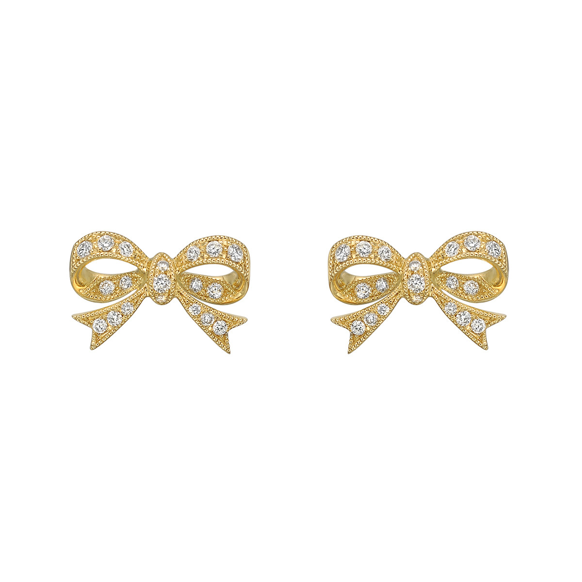18k Yellow Gold & Diamond Bow Earstuds