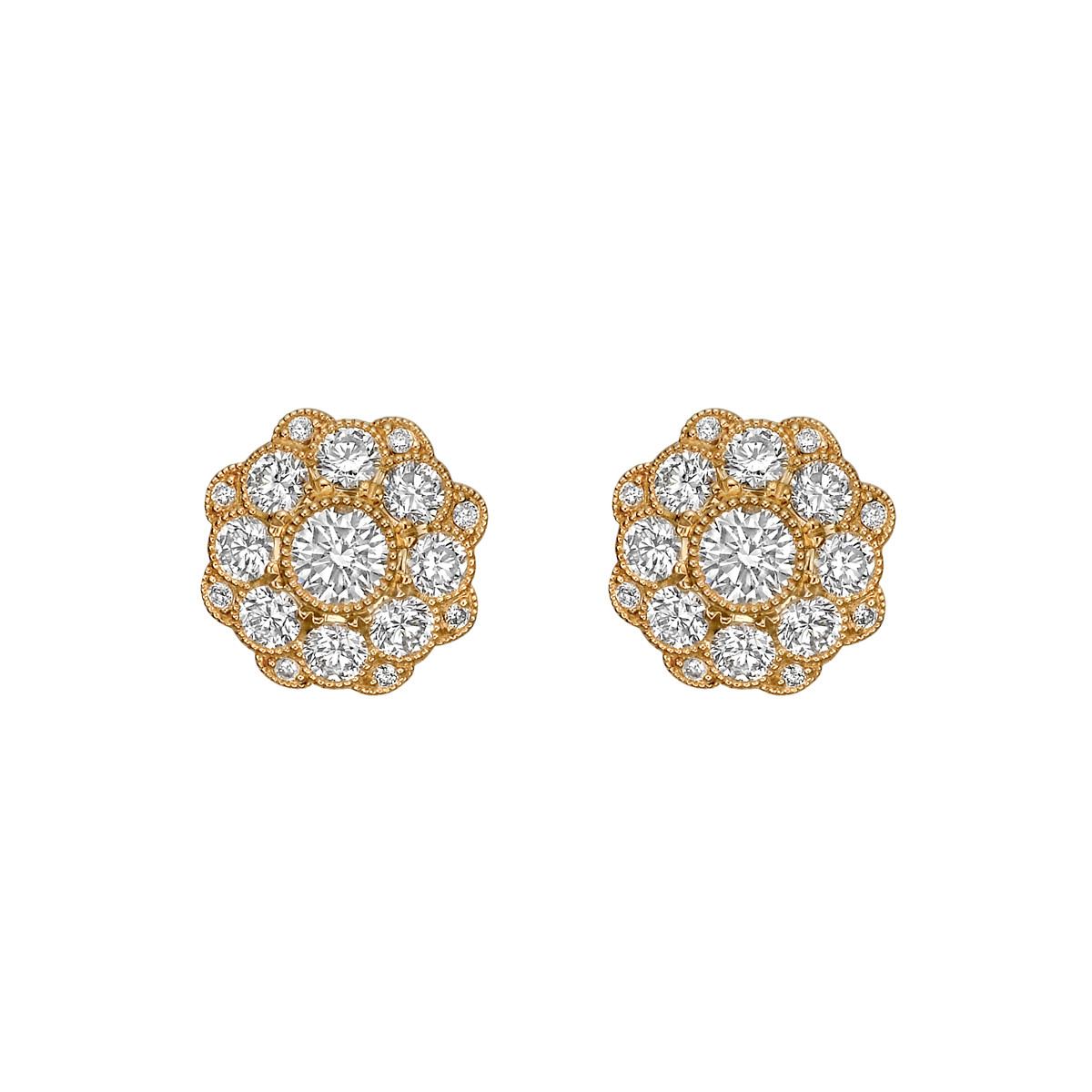 "18k Yellow Gold & Diamond ""Aster"" Halo Earstuds"
