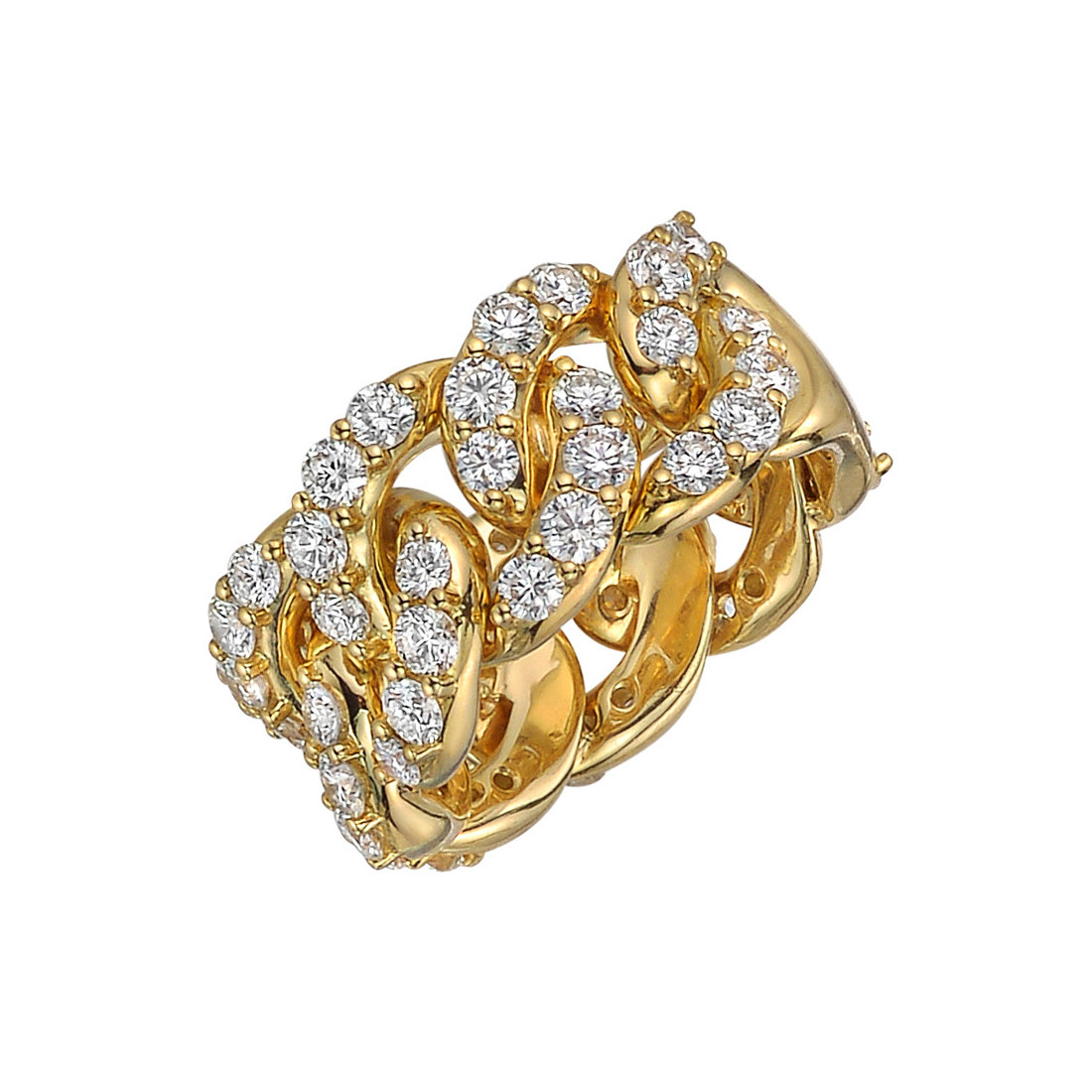 18k Yellow Gold & Diamond Cable Link Ring