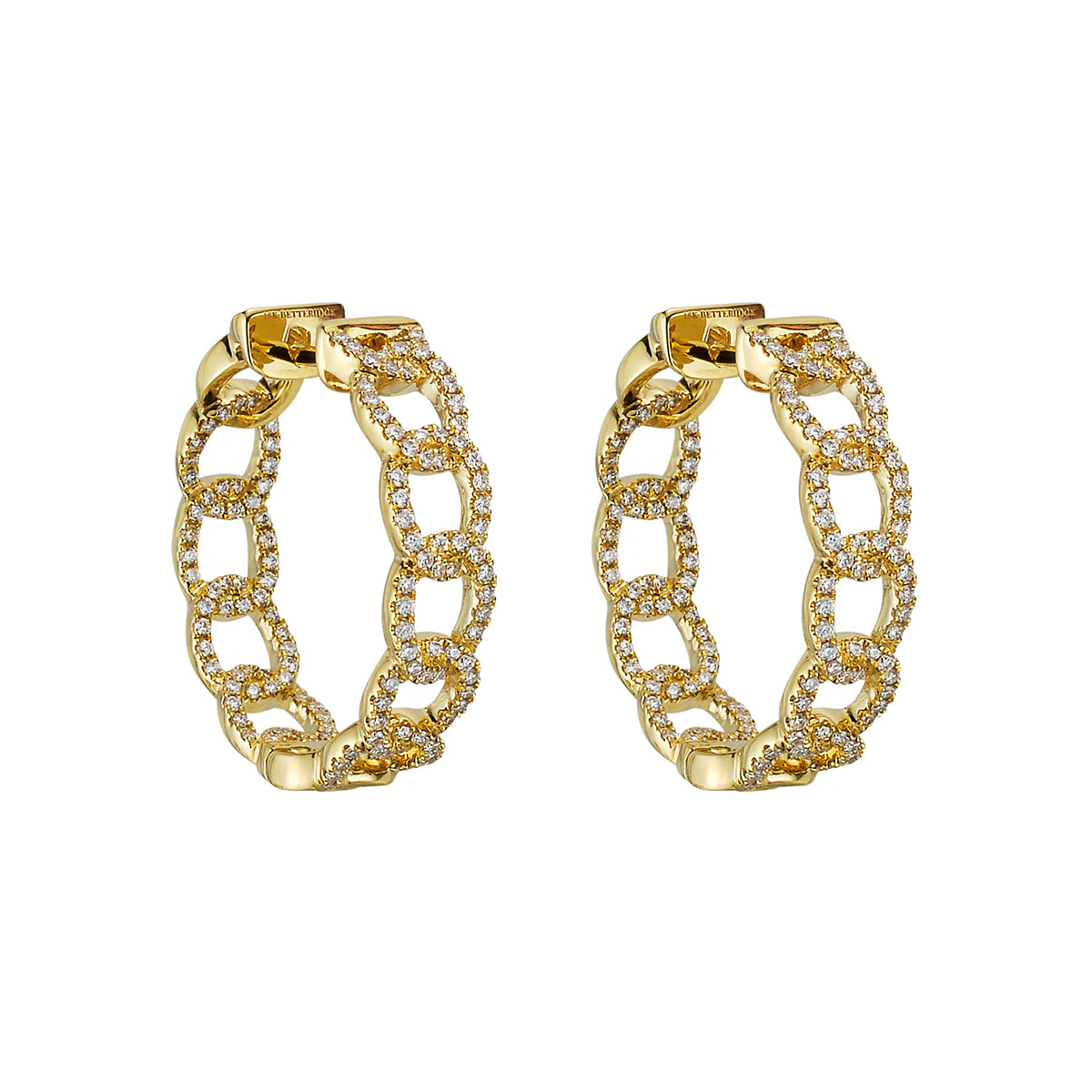 Small 18k Yellow Gold & Diamond Curb Link Hoop Earrings